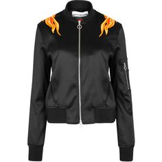 Paco Rabanne Black flame-appliquéd satin bomber jacket (£960) ❤ liked on Polyvore featuring outerwear, jackets, paco rabanne, blouson jacket, satin bomber jacket, flight bomber jacket and zip jacket