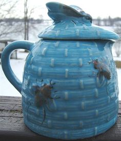 Look what I found on @eBay! http://r.ebay.com/243JPz Vintage BLUE Ceramic TROPIC BEE NATURAL WILD HONEY JUG with BEE COVER