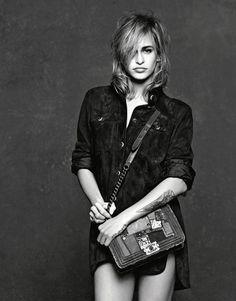Alice Dellal poses in Chanel's Boy handbag campaign for spring 2015.