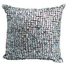 Throw pillow with mother of pearl-inspired accents    Product: Pillow     Construction Material: Polyester and taffeta...