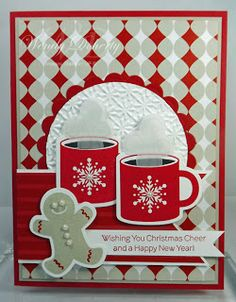 gingerbread mand and cocoa mugs. luv the velum steam rising out of the mugs . Stampin' Up! Christmas Cards To Make, Christmas Mugs, Xmas Cards, Diy Cards, Handmade Christmas, Holiday Cards, Christmas Crafts, Merry Christmas, Greeting Cards