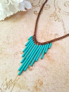 The Heather Turquoise Seed Bead Chevron por NiteDreamerDesigns Beaded Jewelry Designs, Handmade Jewelry, Bijoux Design, Diy Necklace, Chevron Necklace, Copper Necklace, Diy Jewelry Inspiration, Diy Schmuck, Summer Jewelry