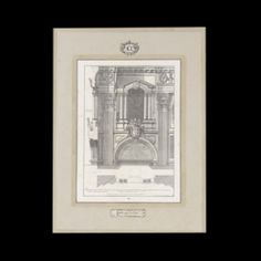 Architecture Window.   Intaglio print of ancient architecture then watercolored.  Frame in flat wood, we chose the gray color which can be modified on demand. The cartouche, the number at the top to catalogue the subject, is entirely hand-drawn. At the bottom is placed a clipping taken from an ancient manuscript: an original way to revive the ancient technique of printing press.