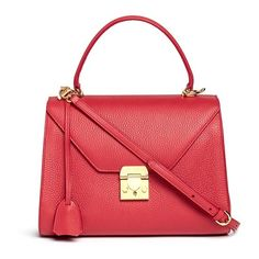 Mark Cross 'Hadley' small leather flap bag ($2,265) ❤ liked on Polyvore featuring bags, handbags, red, leather bags, mark cross handbags, genuine leather purse, leather purse and long purses