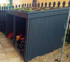 This is a bike shed I made over the summer…. This is a bike shed I made over the summer. This is a bike shed I made over the summer…. Bike Storage Outdoor Shed, Outdoor Sheds, Shed Storage, Storage Ideas, Storage Rack, Outside Bike Storage, Bicycle Storage, Diy Storage, Garage Velo