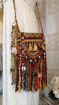 Handmade Vintage Tapestry Fringe Cross Body Bag Gypsy Boho Festival Purse tmyers #Handmade #CrossBodyBag