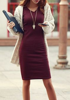Wine Red Plain V-neck Long Sleeve Slim Bodycon Elegant Midi Dress