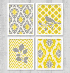 "Ikat Bird Chevron Digital Printable Wall Art Print 8""x10"" Set (Jpeg Files) - V226 - INSTANT DOWNLOAD"