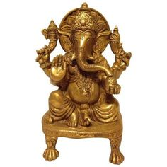 Solid Brass Ganesha Figure (€34) ❤ liked on Polyvore featuring home, home decor, models & figurines, brass figure, brass home accessories, brass figurines and brass home decor