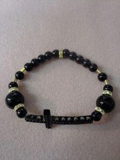 Black and gold horizontal cross bracelet