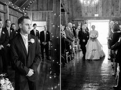 Nothing like the groom's face when he sees his bride. House Property, Twinkle Lights, Photo Credit, Wedding Ceremony, Lisa, Groom, Barn, Bride, Winter