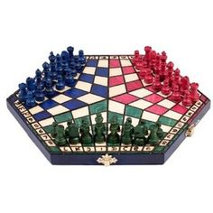 3 Three Players Chess Set SMALL 3 colour RULES INCLUDED