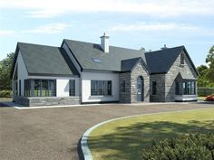 Modern Bungalow Exterior, Stone Exterior Houses, Modern Bungalow House, Dream House Exterior, House Designs Ireland, Dormer House, House Outside Design, House Cladding, Self Build Houses