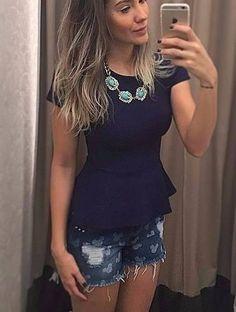 Blusinha Feminina Peplum Modela O Corpo Babado