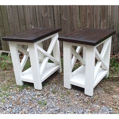 Smaller version of our rustic-X end tables.