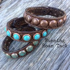 """Set of three individual bracelets. Bracelets are 3/4"""" wide. One has 1/2"""" copper dots, another has 1/2"""" copper patina dots and another has 1/2"""" rim set veined turquoise stones. Leather lined, finished edges, snap closure."""