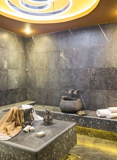 I love the lights and overall design of the bath and the bowl design of the sink is eye-catching. Spa Design, Bath Design, House Design, Bathroom Styling, Bathroom Interior Design, Turkish Bath House, Thermal Hotel, Sauna Steam Room, Spa Prices