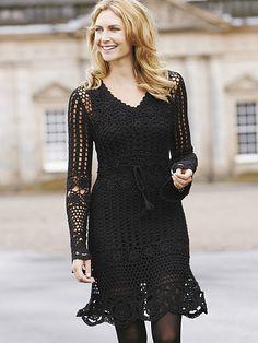 Beautiful little black dress, crochet Black Crochet Dress, Crochet Skirts, Crochet Clothes, Crochet Lace, Knit Dress, Dress Black, Crochet Tops, The Dress, Dress Skirt