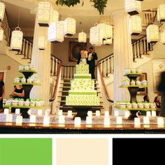 Green, Ivory and Black Color Palette