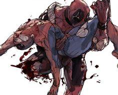 Spideypool Deadpool x Spiderman Deadpool X Spiderman, Spideypool Comic, Spaider Man, Anime Faces Expressions, Superhero Villains, American Comics, Manhwa, Marvel Universe, Comic Art