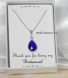 Navy Blue /Silver Bridesmaids Teardrop necklace, Bridesmaid Gift, Dark Blue Bridesmaids Necklace - Ali1 by BridalTreasures4U on Etsy