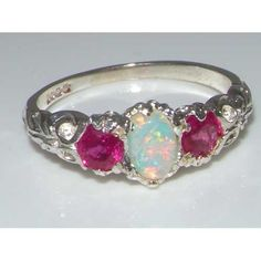 Ladies Solid Sterling Silver Natural Opal & Ruby English Victorian Trilogy Ring - Size 4.25 - Finger Sizes 4 to 12 Available