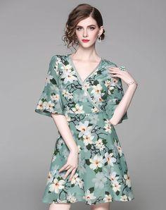 #AdoreWe #VIPme (VIPSHOP Global) WLZD Green Silk V Neck Bell Floral Short A-line Dress - AdoreWe.com
