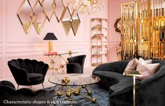 The art deco patterns were displayed in the mirrors, coffee table, chandelier, and room divider. The contrast of the pink and black is a classic art deco style. Art Deco Living Room, Art Deco Bedroom, Glam Living Room, Home Living, Luxury Living, Living Room Designs, Modern Living, Bedroom Decor, Interiores Art Deco