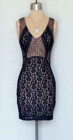 Sheer navy lace dress with nude lining. www.facebook.com/shopmudra