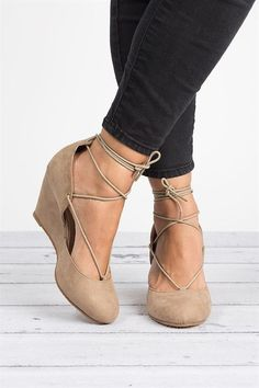 These are cute, they have the feeling of a ballet flat but as a wedge. And I love a wedge. Faux Suede Wedge Pumps #wedgesoutfit