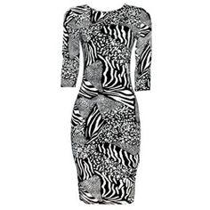 Just Glamour Black/White Animal Skin Ladies Dress