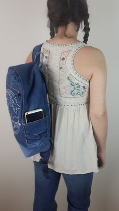 FREE SHIPPING Denim Backpack Jeans Backpack Recycled Denim