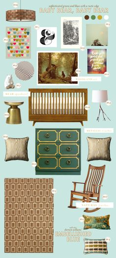 sophisticated greens and blues with a rustic edge - graphic, muted, airy, natural - lay baby lay: baby bear, baby bear