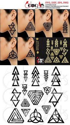 Pendiente Triangular madera / acrílico / Metal 16 / colgante