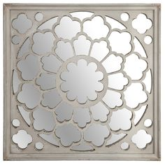 The Ivory Wooden Fretwork Mirror is a great addition to any room of the home. This White mirror features a beautiful decorative fretwork pattern. This mirror is sure to be a great statement piece for your home. This wall hung mirror will help to make your room look large by reflecting natural light. Product Features Fretwork pattern Wall hung Helps to make your room look larger Dimensions: 91.5cm x 5.3cm x 91.5cm