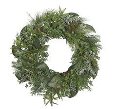 """Cedar Juniper Magnolia Wreath 28"""" (GW03): Cedar Blue Juniper With Berries, Magnolia Wreath, 28"""""""