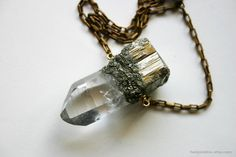 Quartz and Pyrite Fused Crystal Necklace by HedonistINC on Etsy