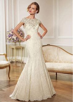 Buy discount Elegant Lace Bateau Neckline Natural Waistline Mermaid Wedding Dress With Beaded Lace Appliques at Dressilyme.com