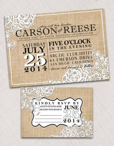 Custom Burlap and Lace Wedding Invitation and Response Card