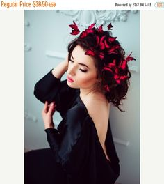 Christmas SALE Red Wedding Butterflies Decorative Hair by EtenIren