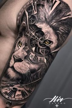 Thinking of getting inked? Check out these unique lion tattoo design ideas for men! #liontattoos #tattoos #tattoodesigns #menstattoos Lion Tattoo Sleeves, Wolf Tattoo Sleeve, Best Sleeve Tattoos, Tattoo Sleeve Designs, Tattoo Designs Men, Clock Tattoo Sleeve, Realistic Tattoo Sleeve, Lion Head Tattoos, Mens Lion Tattoo