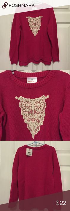 Hanna Andersson Lace Owl Sweater, NWT 100% cotton, brand new, never worn, size 120 (6-8) Hanna Andersson Shirts & Tops Sweaters