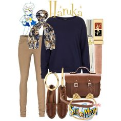 A fashion look from September 2013 featuring blue shirt, low rise jeans and brown shoes. Browse and shop related looks. Sailor Moon Outfit, Sailor Moon Cosplay, Sailor Moon Collectibles, Nerd Chic, Casual Cosplay, Character Outfits, Luxury Fashion, Topshop, Polyvore