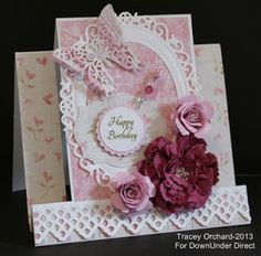 DownUnder Direct Inspirations: Shades of Pink Birthday Step Card Tri Fold Cards, Fancy Fold Cards, Folded Cards, Handmade Birthday Cards, Greeting Cards Handmade, Center Step Cards, Side Step Card, Stepper Cards, Spellbinders Cards