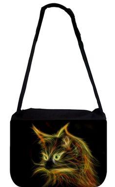 Green-Eyed Fractal Kitty TM School Backpack