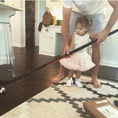 Tj oshie and lyla oshie playing hockey