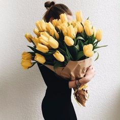 The 12 Real Touch Mini Tulip Bouquet consists of one dozen exquisitely decorative flowers. However, unlike their real counterparts which fade and drop petals after only a few days or even a few hours. My Flower, Beautiful Flowers, Tulip Bouquet, Bouquet Flowers, Yellow Tulips, No Rain, Flower Aesthetic, Gerbera, Happy Colors