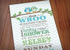 twin baby shower owl image - Google Search