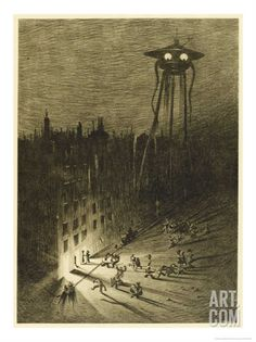 The War of the Worlds, a Martian Machine Contemplates the Drunken Crowd Stretched Canvas Print by Henrique Alvim Corrêa at Art.com
