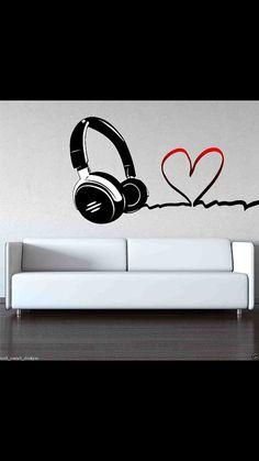 Full Colour Love Music DJ Headphones Wall Art by WallSmartDesigns